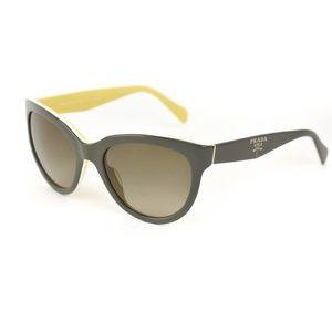 PRADA: Gray & White Logo Sunglasses (rw)
